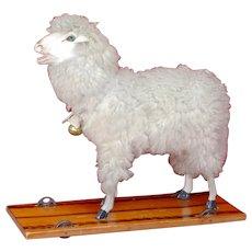 Wonderful Long Woolley Sheep Platform Pull Toy 1890s