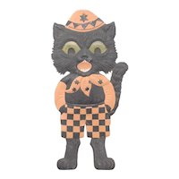 Halloween Black cat clown checkered Pants Die Cut Germany