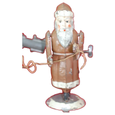 Super Early Christmas Wind-up Tin Toy Santa Claus Bell Ringer Gunthermann