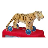 "Fab 29"" long 1950s Steiff Striped Tiger on Wheels Wooden Teeth. ID"