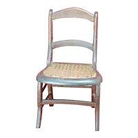 Antique wooden cane seat Doll Chair Slat back Salesman Sample