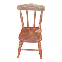 19th Century Red Stenciled Painted Salesman Sample Doll Chair