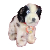 """1950s Small Steiff Standing """"Cockie"""" Cocker Spaniel Dog All ID Black and White"""