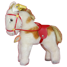 1950s small Size Steiff Pony W/ Saddle and harness All ID