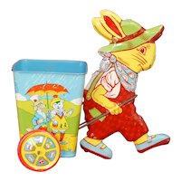 Near Mint 1940s 50s J Chein and Co. Lithograph Easter Bunny Nursery Rhyme Tin toy