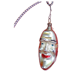 Lovely Vintage Man in the moon Glass Christmas Ornament