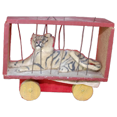 Small Early Cloth Covered German Paper Mache Striped Tiger in Circus Cage on Wheels