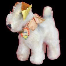 1950s  Small Steiff Foxy Dog All ID Silk Bow