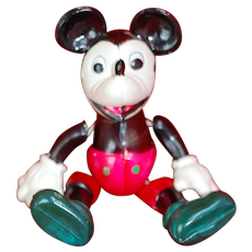 1930s 40s Celluloid jointed Mickey Mouse Doll Figure