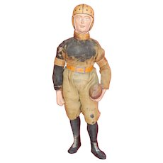 Rare Early Paper Mache Dressed Molded Football Player Candy Container Germany