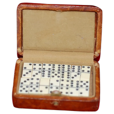 French Fashion Doll Bakelite Miniature Set of Dominos in Leather Case
