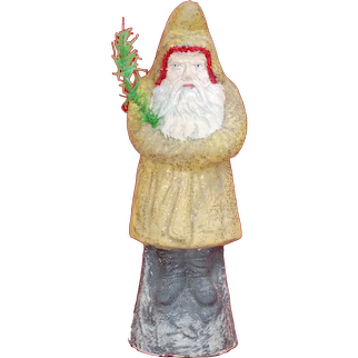 "Early 9.5"" GERMAN Paper Mache Santa Claus Belsnickle W/ feather Tree Sprig"