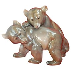 Beautiful Rosenthal Wrestling Bears Porcelain Glaze