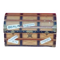 Dresden Doll House Steamer Trunk Candy Container with Advertising