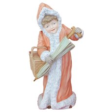 Stunning Large Porcelain Figurine Christmas Girl in Winter Coat w/  Ermine Trim