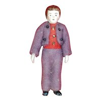 2.75 Inch Hertwig All Bisque Man in Felt Clothing