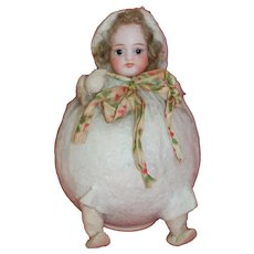 Cutest Cotton and Bisque Snowball Girl Candy Container Made in Germany
