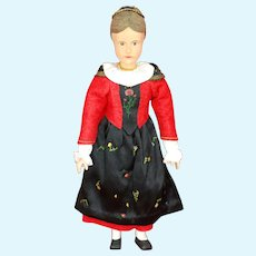 14 Inch Wood Swiss Linden doll 1930s All Original clothes