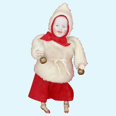 Mechanical Heubach Walking Doll In Christmas Outfit