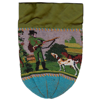 Scenic Fully Beaded French Purse Of 1830's, Hunter With his Dogs In Landscape