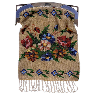 Faberge Silver Enamel Frame With Russian Floral Beaded Purse