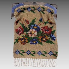 Russian Floral Beaded Purse With Silver Enamel Frame Faberge