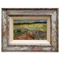 "Edgar Farasyn (1858 - 1938), Belgian Oil Painting ""Weeding"", 1921"