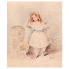 Antique Russian Watercolor Portrait Young Girl 1820s, Signed