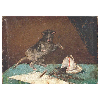 19 Century Dutch Oil Miniature Painting Of a Cat