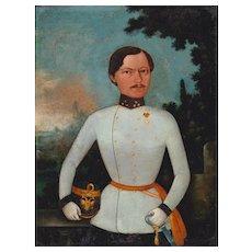 Antique Portrait of Cuirassier Oil Painting Maple Frame, c.1840 - 1850s