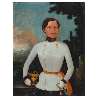 Antique Portrait of Cuirassier Oil Painting Maple Frame, c.1840 - 1850s