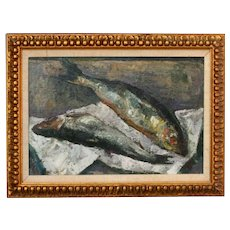 Yuli Yulievich Klever Jr (1882 - 1942), Still Life With Fish Oil Painting, Listed