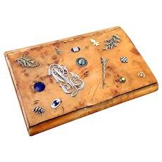 Russian Big Karelian Birch Wood Box Faberge With Silver And Enamel Inlays