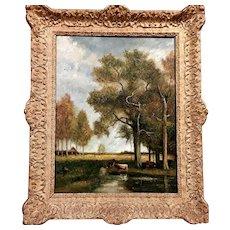 Barbizon oil painting by P.D.Trouillebert (1829-1900)
