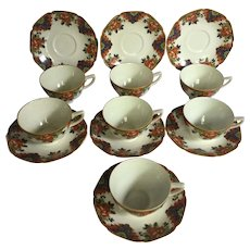 Set of 7 Crown Ducal Ware Chintz Cups & Saucers, Circa 1925