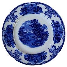 Sylvan plate with cows,castle, lush foliage (Flow Blue)