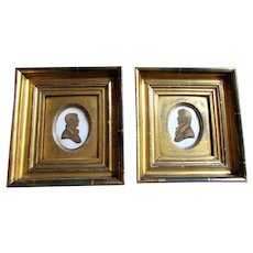 Pair Antique -  HARGRAVES - Georgian Era  - Miniature Silhouettes -  Portraits Gentlemen - Dated 1813