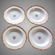 4 Antique Porcelain Soup Bowls with Eagle Crest  - NEC TEMERE NEC TIMIDE