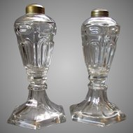 Pair ANTIQUE 19th Century  WHALE OIL Clear Glass LAMPS circa 1840