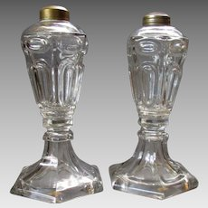 Pair ANTIQUE 19th Century  WHALE OIL Clear Glass LAMPS circa 1840