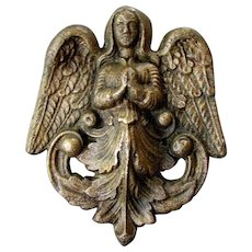 Antique 18th Century Architectural Ornament BRONZE  CARTOUCHE Praying Angel with Wings