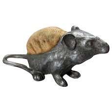 Tiny ANTIQUE 19th Century Figural Cast Metal MOUSE PIN CUSHION circa 1890