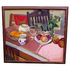 Vintage NICOLE TOMASSI Impressionist Oil Painting STILL LIFE Artist Signed 1984