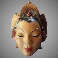 Vintage VIOLET CLARK Hand Made Papier Mache THEATRE MASK Chinese Woman 1930's