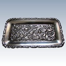 ANTIQUE Victorian Era Sterling Silver Repousse PIN TRAY with Hairpin circa 1890