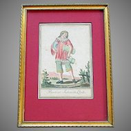 "ANTIQUE 18th Century Hand Colored FRENCH ENGRAVING  "" Barbier Indien de Quito """
