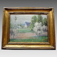 Vintage GUSTAVE ADOLPH WIEGAND Impressionist Oil Painting - Landscape with Cottage