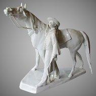 Large Vintage HEREND Blanc de Chine Porcelain Figural Group MAN & HORSE 1975