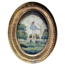 Antique GEORGIAN ERA Embroidered Silk Needlework - Gentleman Uniform - ARCHERY