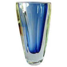 "Vintage MURANO Venetian Art Glass SEGUSO Cut & Polished Sommerso 10"" VASE 1960"